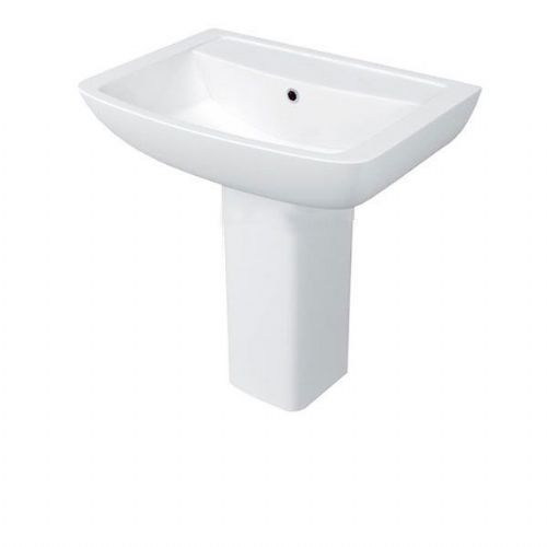 Kartell Pure Basin - 550mm Wide - Semi Pedestal - 1 Tap Hole - White
